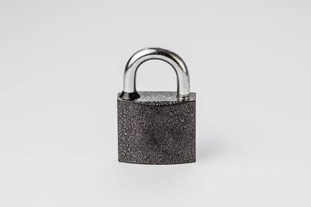 closed lock on a gray background