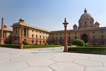 parliament building: view of the Indian Parliament in New Delhi, India Stock Photo