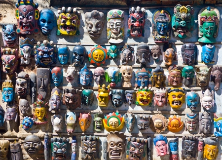 Masks in Kathmandu market, Nepal photo