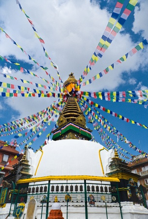 the stupa: Buddha Stupa in Kathmandu, Nepal Stock Photo