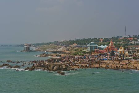southern indian: Kanyakumari landscape, holy center in the south India