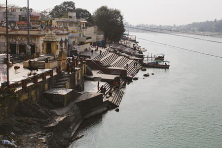 ancient yoga: Ghat view from Ramjula bridge, Rishikesh - holy Indian place