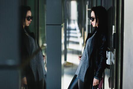 beautifull woman: street portrait of young beautifull woman with long black hair