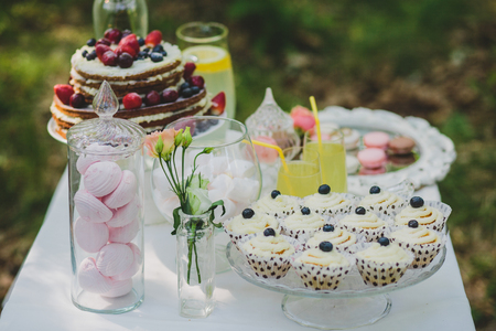sweet table: decorated sweet table for summer wedding picnic with sweets, cupcakes, pie and lemonade