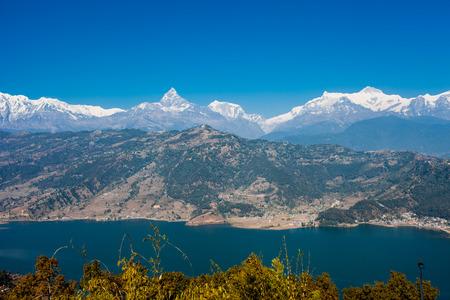 Famous tourist view of Phewa lake and Annapurna mountain  range from World Peace Pagoda in Pokhara, Nepal Stock Photo