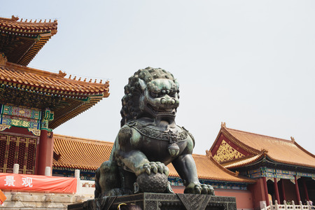 A statue of a lion-guard at Beijing Forbidden city - ancient residence of Emperor