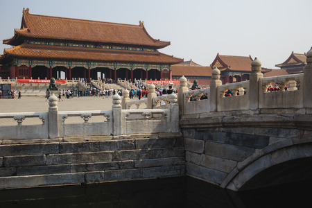 emperor of china: Beijing, China - May 19, 2016: A lot of people are visiting famous Beijing Forbidden city - ancient residence of Emperor