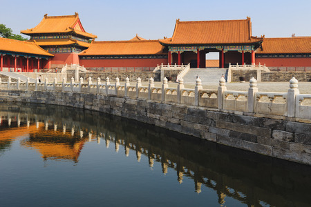 China Beijing Forbidden city - ancient residence of Emperor, view of water filled canal and reflections