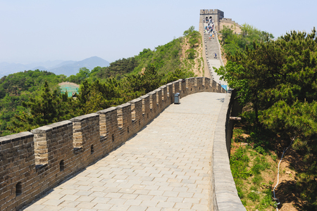 View of the great Chinese wall Beijing China, Badaling section Stock Photo