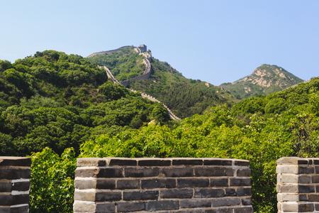 muralla china: View of the great Chinese wall Beijing China, Badaling section Foto de archivo