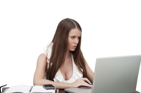 Young sexy business woman working  photo