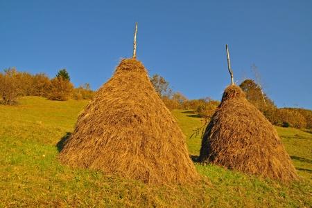 A haystacks on an autumn hillside in evening illumination