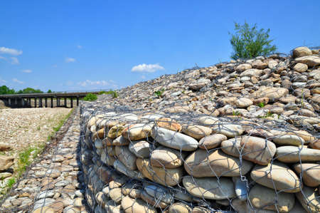 gabion: Gabion on the bank of the river