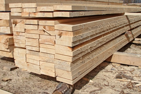 forest products: Edging board in stacks