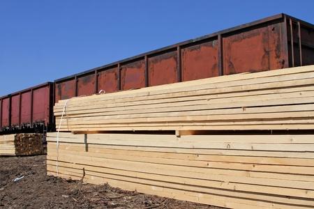 logging railways: Edging board in stacks