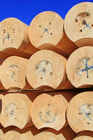 calibrated: The round calibrated building bar from a tree