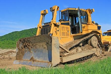 earthwork: The bulldozer on a building site