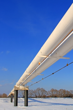 The high pressure pipeline in a winter landscape Stock Photo - 16910086