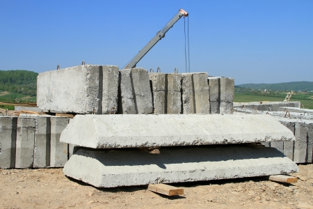 reinforced: Reinforced concrete products on a building site