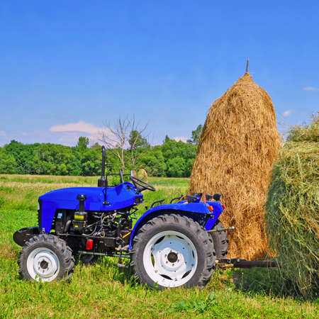 Hay preparation in a rural landscape with a tractor Stock Photo - 18294718