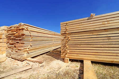 log deck: Building bar from a tree and an edging board in stacks Stock Photo