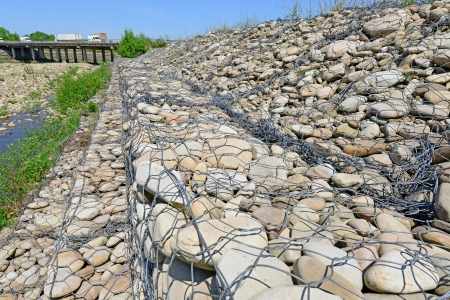 gabion: Strengthening of coast of mountain small river