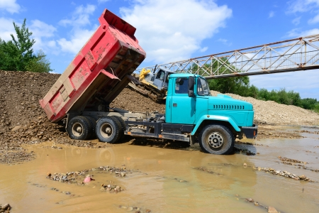 muck: Work to strengthen the shoreline of the river