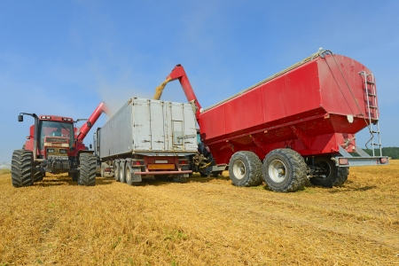 Overloading of grain bins in a car tractor  photo