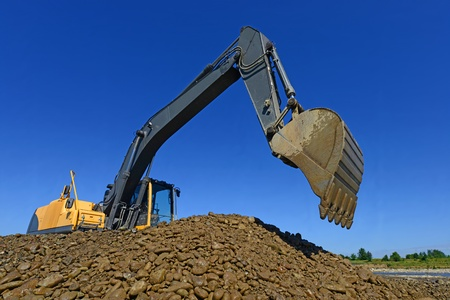 Excavator on the work  photo