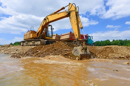 Gravel excavated in the mainstream of the river photo