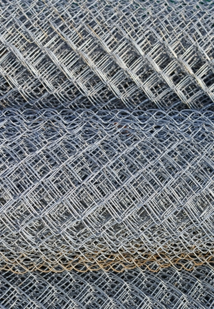 uncoated: Steel wire lattice in rolls   Stock Photo