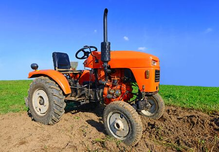 wheel tractor: Tractor on a spring field