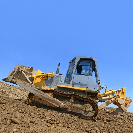 building site: The bulldozer on a building site