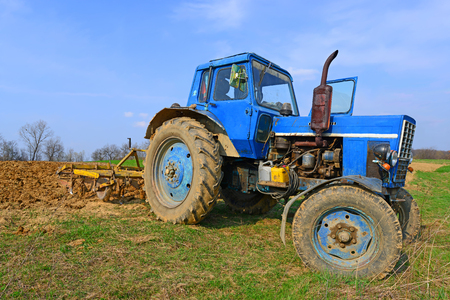 wheeled tractor: Wheeled tractor in the field