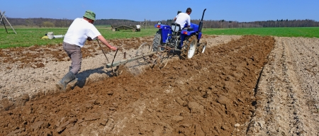 livestock sector: Fallowing of a spring field by a manual plow on mechanical traction