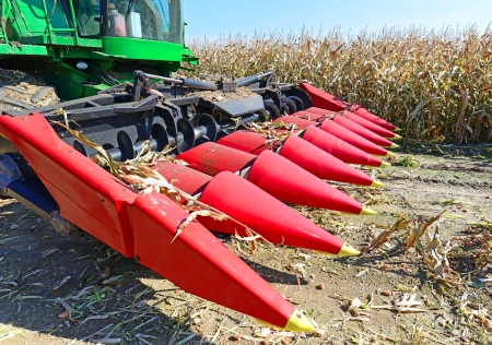 agricultural application tractor: Corn harvesting combine
