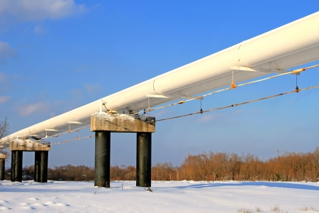 'main squeeze': The high pressure pipeline in a winter landscape