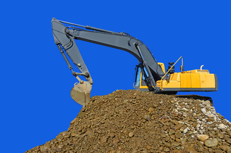 Loading gravel excavator Stock Photo