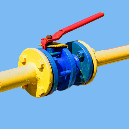 pressurized: Ball valve on the gas pipeline section
