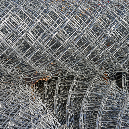 uncoated: Steel wire lattice in rolls   Stock Photo