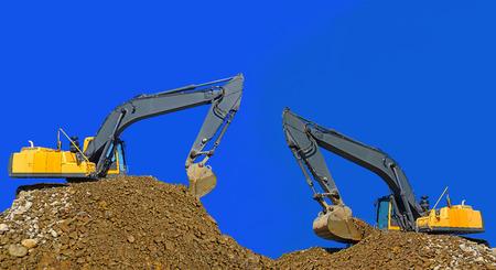 Loading gravel excavator photo