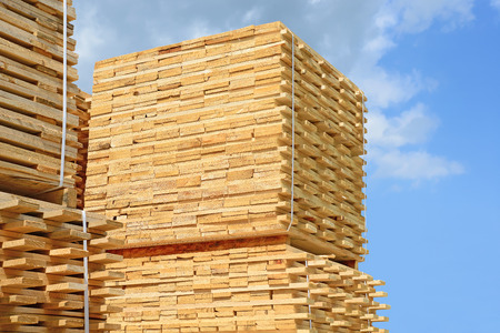 forest products: Eaves board in stacks. An edging
