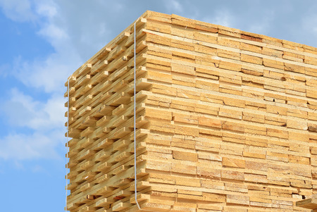 lumbering: Eaves board in stacks Stock Photo
