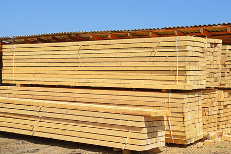 primary product: Eaves board in stacks.