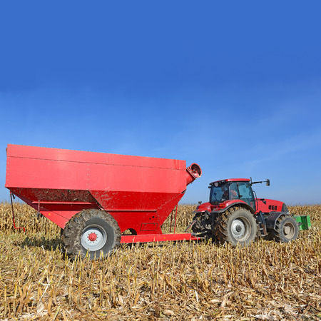 tenure: A tractor with a trailer to transport the grain to harvest corn. Stock Photo