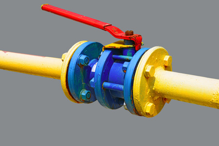 gas ball: Ball valve on the gas pipeline section.
