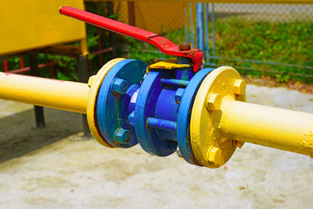 pressurized: Ball valve on the gas pipeline section Stock Photo
