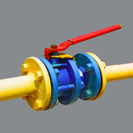 gas ball: Ball valve on the gas pipeline section Stock Photo
