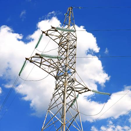 isolator insulator: Highvoltage power line Stock Photo