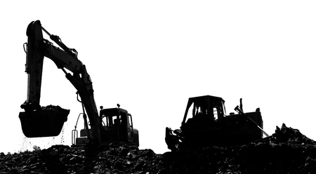 The bulldozer  and  dredge on a building site